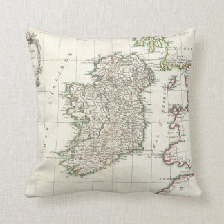 Vintage Map of Ireland (1771) Throw Pillow