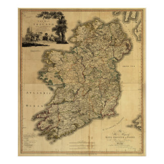Vintage Map of Ireland (1797) Poster