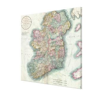 Vintage Map of Ireland (1799) Canvas Print
