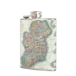Vintage Map of Ireland (1799) Hip Flasks