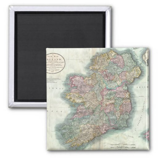 Vintage Map of Ireland (1799) Magnets