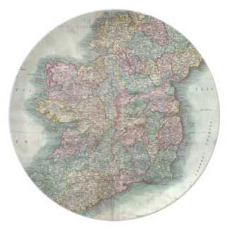 Vintage Map of Ireland (1799) Party Plate
