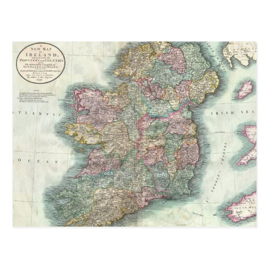 Vintage Map of Ireland (1799) Postcard