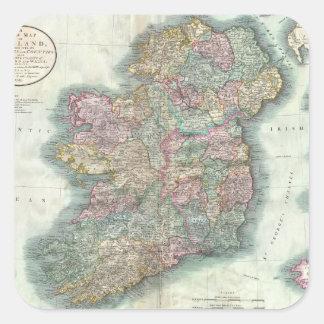 Vintage Map of Ireland (1799) Square Sticker