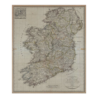 Vintage Map of Ireland (1804) Poster