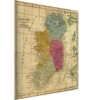 Vintage Map of Ireland (1808) Canvas Print