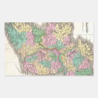 Vintage Map of Ireland (1827) Rectangular Sticker