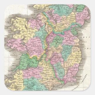 Vintage Map of Ireland (1827) Square Sticker