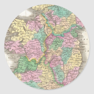 Vintage Map of Ireland (1827) Round Sticker