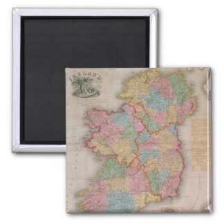 Vintage Map of Ireland (1835) 2 Inch Square Magnet