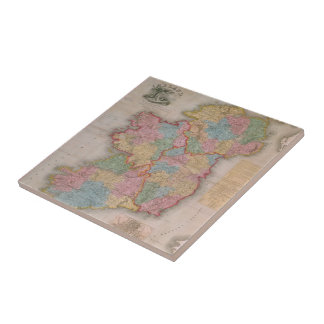 Vintage Map of Ireland (1835) Ceramic Tile