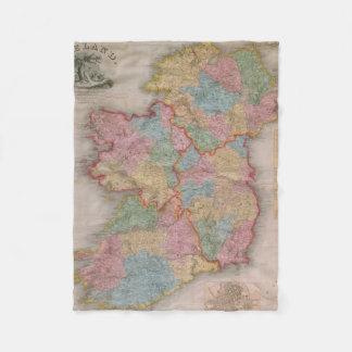 Vintage Map of Ireland (1835) Fleece Blanket