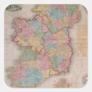 Vintage Map of Ireland (1835) Square Sticker