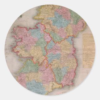 Vintage Map of Ireland (1835) Round Stickers