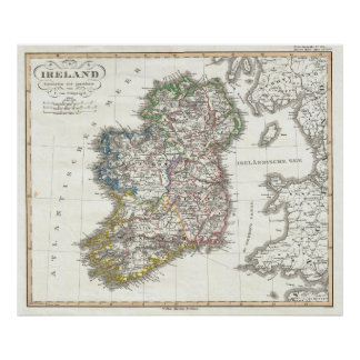 Vintage Map of Ireland (1841) Poster