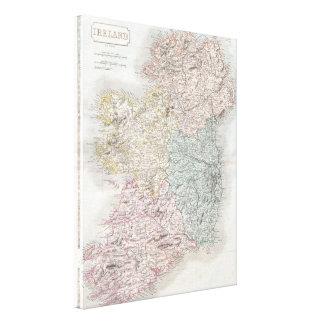 Vintage Map of Ireland (1850) Canvas Print
