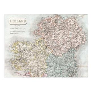 Vintage Map of Ireland (1850) Postcard