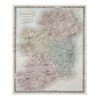 Vintage Map of Ireland (1850) Poster