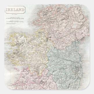 Vintage Map of Ireland (1850) Square Sticker
