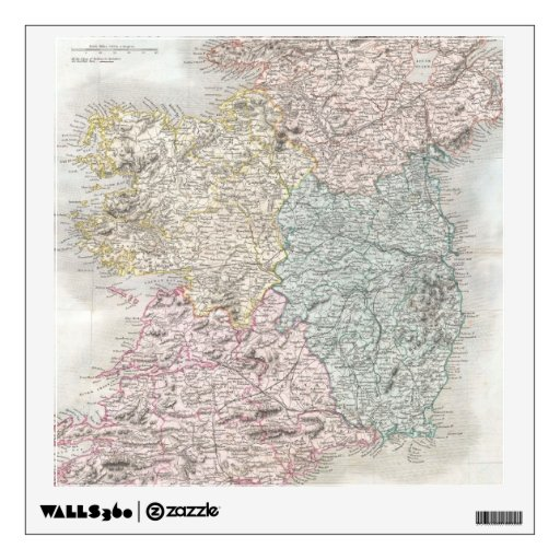 Vintage Map of Ireland (1850) Room Graphic