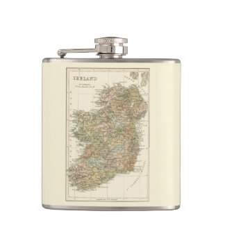 Vintage Map of Ireland 1862 Hip Flask