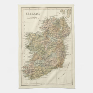 Vintage Map Of Ireland 1862 Kitchen Tea Towel at Zazzle