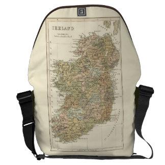 Vintage Map of Ireland 1862 Large Courier Bag