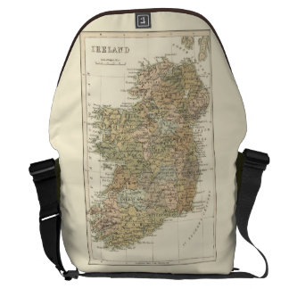 Vintage Map of Ireland 1862 Large Messenger Bags