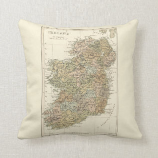 Vintage Map Of Ireland 1862 Pillow at Zazzle