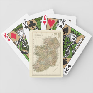 Vintage Map Of Ireland 1862 Playing Cards at Zazzle