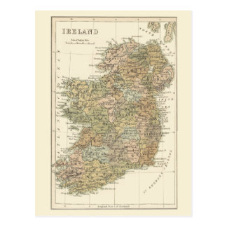Vintage Map of Ireland 1862 Postcard