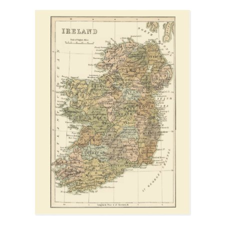 Vintage Map Of Ireland 1862 Postcard