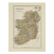 Vintage Map of Ireland 1862 Poster at Zazzle