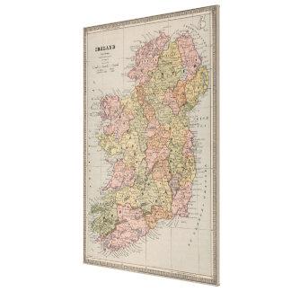 Vintage Map of Ireland (1883) Canvas Print