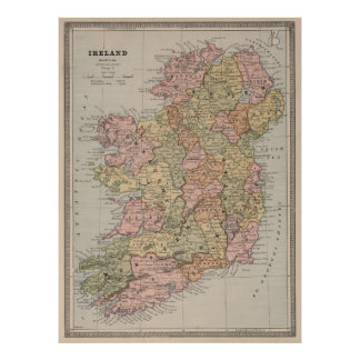 Vintage Map of Ireland (1883) Poster