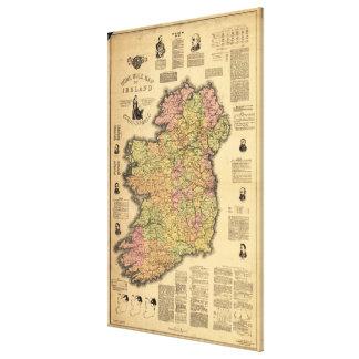 Vintage Map of Ireland (1893) Canvas Print