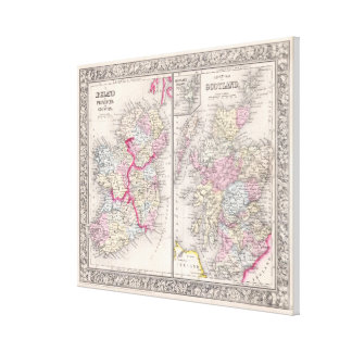 Vintage Map of Ireland and Scotland (1864) Canvas Print