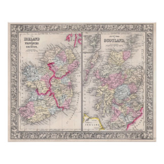 Vintage Map of Ireland and Scotland (1864) Poster