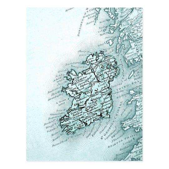 Vintage map of Ireland, green Postcard