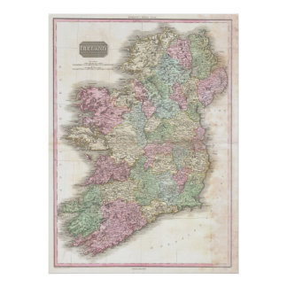 Vintage Map of Ireland Poster