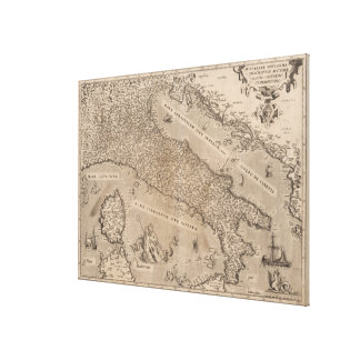 Vintage Map of Italy (1570) Canvas Print