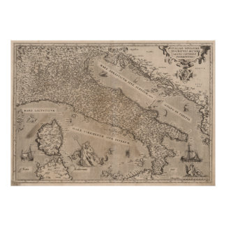 Vintage Map of Italy (1570) Poster