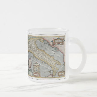 Vintage Map of Italy (1584) Frosted Glass Coffee Mug