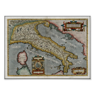 Vintage Map of Italy (1584) Poster