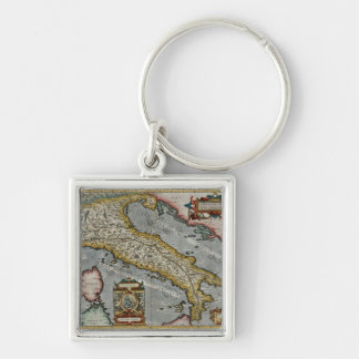 Vintage Map of Italy (1584) Silver-Colored Square Keychain