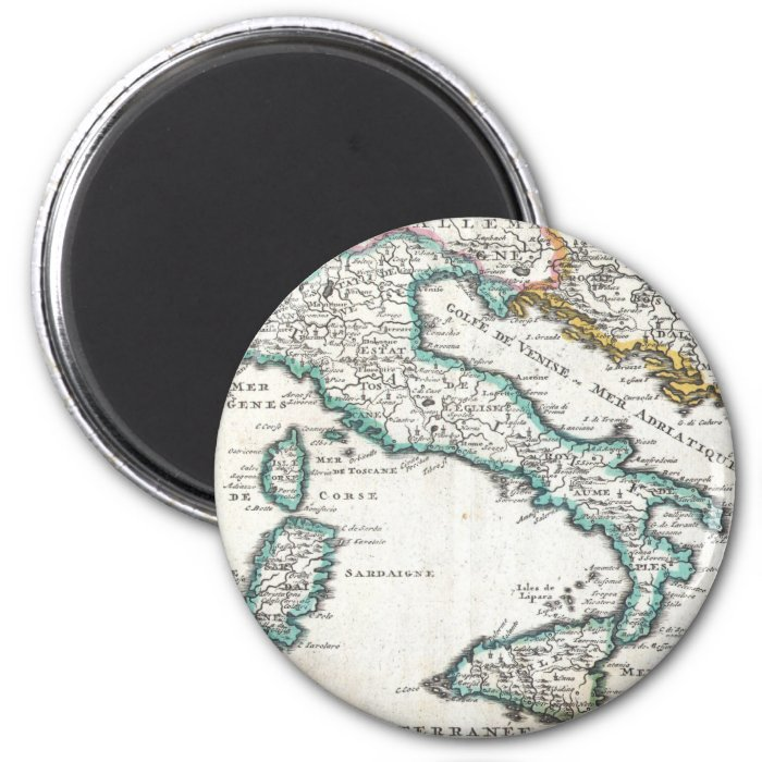 Vintage Map of Italy (1706) 2 Inch Round Magnet