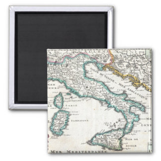 Vintage Map of Italy (1706) 2 Inch Square Magnet
