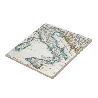 Vintage Map of Italy (1706) Ceramic Tile