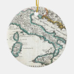 Vintage Map of Italy (1706) Double-Sided Ceramic Round Christmas Ornament