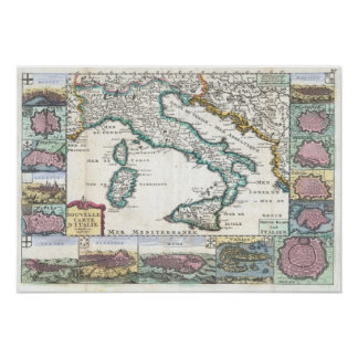 Vintage Map of Italy (1706) Poster